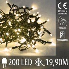 Vianočná LED svetelná reťaz vonkajšia + programy - 200LED - 19,90M Teplá biela