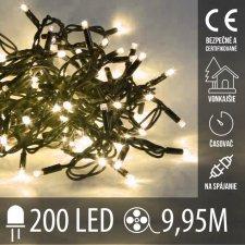 Vianočná LED svetelná reťaz na spájanie vonkajšia s časovačom - 200LED - 9,95M Teplá biela