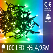 Vianočná LED svetelná reťaz vnútorná - 100LED - 4,95M Multicolour