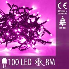 Vianočná LED svetelná reťaz vnútorná - 100LED - 8M Ružová