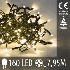 Vianočná LED svetelná reťaz vnútorná - 160LED - 7,95M Teplá Biela