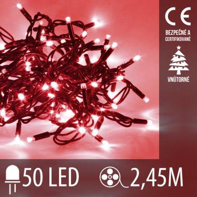Vianočná LED svetelná reťaz vnútorná - 50LED - 2,45M Červená