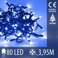 Vianočná LED svetelná reťaz vnútorná - 80LED - 3,95M Modrá