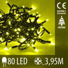 Vianočná LED svetelná reťaz vnútorná - 80LED - 3,95M Žltá