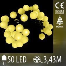 Vianočná LED svetelná reťaz vnútorná guľky - 50LED - 3,43M Teplá biela