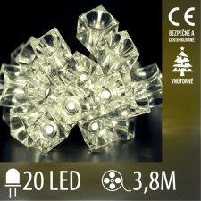 Vianočná LED svetelná reťaz vnútorná - kocky - 20LED - 3,8M Teplá Biela