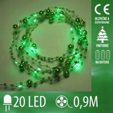 Vianočná LED svetelná reťaz vnútorná - na batérie - 20LED - 0,9M Zelená