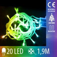 Vianočná LED svetelná reťaz vnútorná - na batérie - 20LED - 1,9M Multicolour