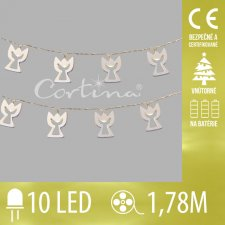 Vianočná LED svetelná reťaz vnútorná na batérie - anjeli - 10LED - 1,78M Teplá biela