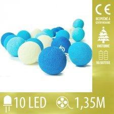 Vianočná LED svetelná reťaz vnútorná - na batérie - bavlnené gule modré - 10LED - 1,35M Teplá biela