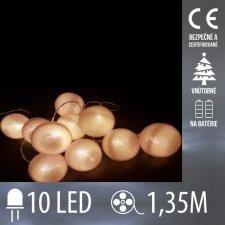 Vianočná LED svetelná reťaz vnútorná - na batérie - biele gule - 10LED - 1,35M Studená biela