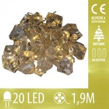 Vianočná LED svetelná reťaz vnútorná - na batérie - bubny - 20LED - 1,9M Teplá biela