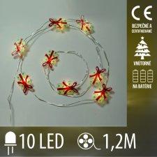 Vianočná LED svetelná reťaz vnútorná na batérie - darčeky - 10LED - 1,2M Teplá biela