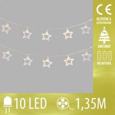 Vianočná LED svetelná reťaz vnútorná - na batérie - drevené hviezdičky - 10LED - 1,35M Teplá biela