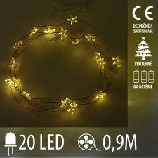 Vianočná LED svetelná reťaz vnútorná - na batérie - hviezdičky - 20LED - 0,9M Teplá Biela