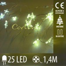 Vianočná LED svetelná reťaz vnútorná - na batérie - hviezdičky - 25LED - 1,4M Teplá Biela