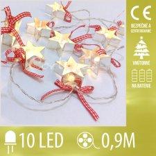 Vianočná LED svetelná reťaz vnútorná na batérie - hviezdy - 10LED - 0,9M Teplá biela