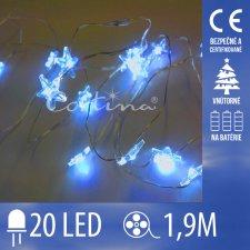 Vianočná LED svetelná reťaz vnútorná na batérie - hviezdy modré - 20LED - 1,9M Modrá