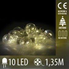 Vianočná LED svetelná reťaz vnútorná - na batérie - priesvitné ziarovky - 10LED - 1,35M Teplá biela