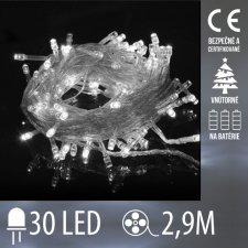 Vianočná LED svetelná reťaz vnútorná na batérie s priesvitným káblom - 30LED - 2,9M Studená biela