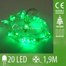 Vianočná LED svetelná reťaz vnútorná na batérie - stromčeky - 20LED - 1,9M Zelená