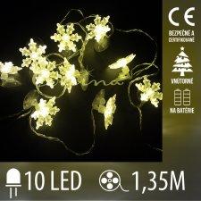 Vianočná LED svetelná reťaz vnútorná - na batérie - vločky - 10LED - 1,35M Teplá Biela