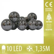 Vianočná LED svetelná reťaz vnútorná - na batérie - žiarovky - strieborné - 10LED - 1,35M Teplá biela