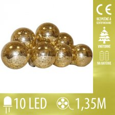 Vianočná LED svetelná reťaz vnútorná - na batérie - žiarovky - zlaté - 10LED - 1,35M Teplá biela