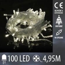 Vianočná LED svetelná reťaz vnútorná na spájanie s priesvitným káblom - 100LED - 4,95M Studená biela