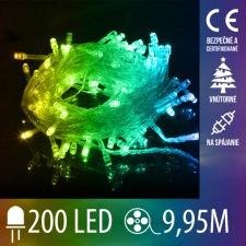 Vianočná LED svetelná reťaz vnútorná na spájanie s priesvitným káblom - 200LED - 9,95M Multicolour