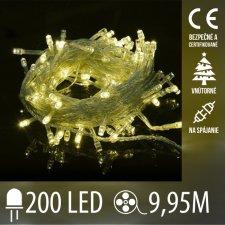 Vianočná LED svetelná reťaz vnútorná na spájanie s priesvitným káblom - 200LED - 9,95M Teplá biela