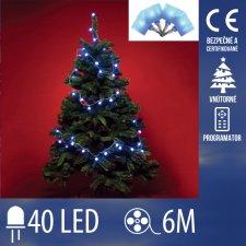 Vianočná LED svetelná reťaz vnútorná + programy - kocky - 40LED - 6M Modrá