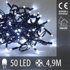 Vianočná LED svetelná reťaz vonkajšia - 50LED - 4,9M Studená Biela