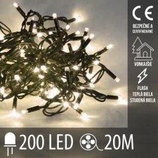 Vianočná LED svetelná reťaz vonkajšia FLASH - 200LED - 20M Teplá Biela+Studená Biela