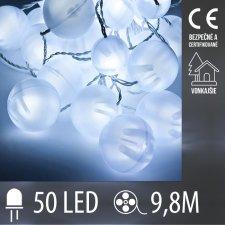 Vianočná LED svetelná reťaz vonkajšia guľky - 50LED - 9,8M Studená Biela