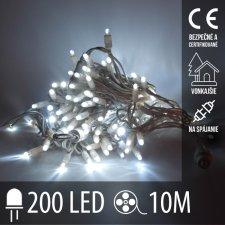Vianočná LED svetelná reťaz vonkajšia na spájanie - 200LED - 10M Studená Biela