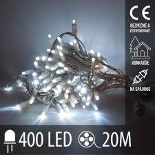 Vianočná LED svetelná reťaz vonkajšia na spájanie - 400LED - 20M Studená Biela