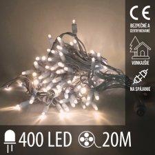 Vianočná LED svetelná reťaz vonkajšia na spájanie - 400LED - 20M Teplá Biela