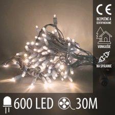 Vianočná LED svetelná reťaz vonkajšia na spájanie - 600LED - 30M Teplá Biela