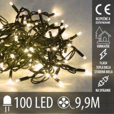 Vianočná LED svetelná reťaz vonkajšia na spájanie FLASH - 100LED - 9,90M Teplá Biela+Studená Biela