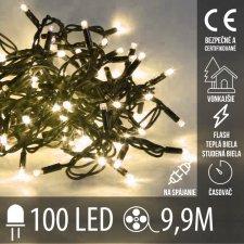 Vianočná LED svetelná reťaz vonkajšia na spájanie s časovačom FLASH - 100LED - 9,90M Teplá Biela+Studená Biela