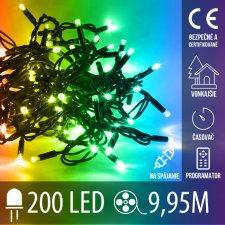 Vianočná LED svetelná reťaz vonkajšia na spájanie s časovačom + programy - 200LED - 9,95M Multicolour