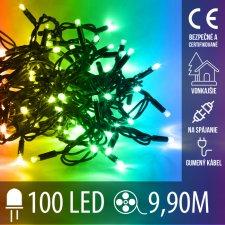 Vianočná LED svetelná reťaz vonkajšia na spájanie s gumeným káblom - 100LED - 9,9M Multicolour