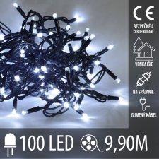 Vianočná LED svetelná reťaz vonkajšia na spájanie s gumeným káblom - 100LED - 9,9M Studená biela