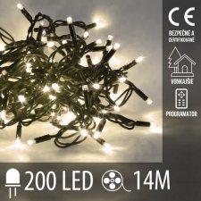 Vianočná LED svetelná reťaz vonkajšia + programy - 200LED - 14M Teplá biela