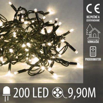 Vianočná LED svetelná reťaz vonkajšia + programy - 200LED - 9,90M Teplá biela