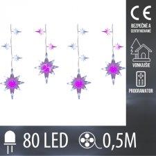 Vianočná LED svetelná reťaz vonkajšia + programy - Hviezdy - 80LED - 0,5M Studená biela+Ružová