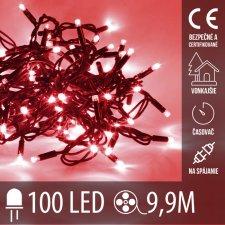 Vianočná LED svetelná reťaz vonkajšia na spájanie s časovačom - 100LED - 9,90M Červená