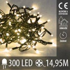 Vianočná LED svetelná reťaz vonkajšia s časovačom - 300LED - 14,95M Teplá biela