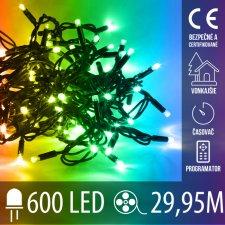 Vianočná LED svetelná reťaz vonkajšia s časovačom + programy - 600LED - 29,95M Multicolour